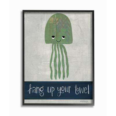 "16 in. x 20 in. ""Hang Up Your Towel Jellyfish"" by Katie Doucette Printed Framed Wall Art"