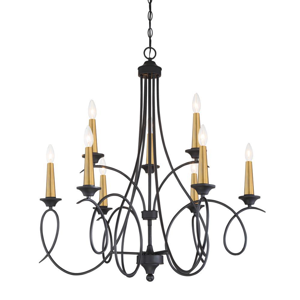 La Courbe 9-Light Black with Antique Brass Chandelier