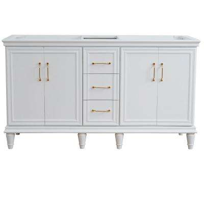 60 in. W x 21.5 in. D Double Bath Vanity Cabinet Only in White