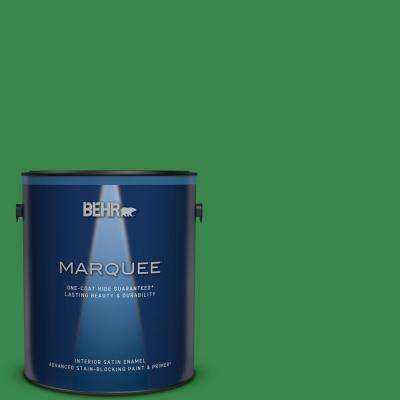 1 gal. #450B-7 Green Grass Satin Enamel Interior Paint and Primer in One