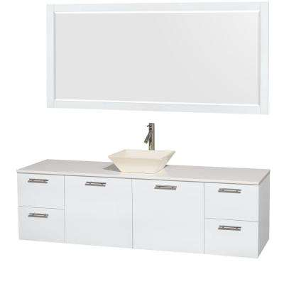 Amare 72 in. Vanity in Glossy White with Solid-Surface Vanity Top in White, Porcelain Sink and 70 in. Mirror