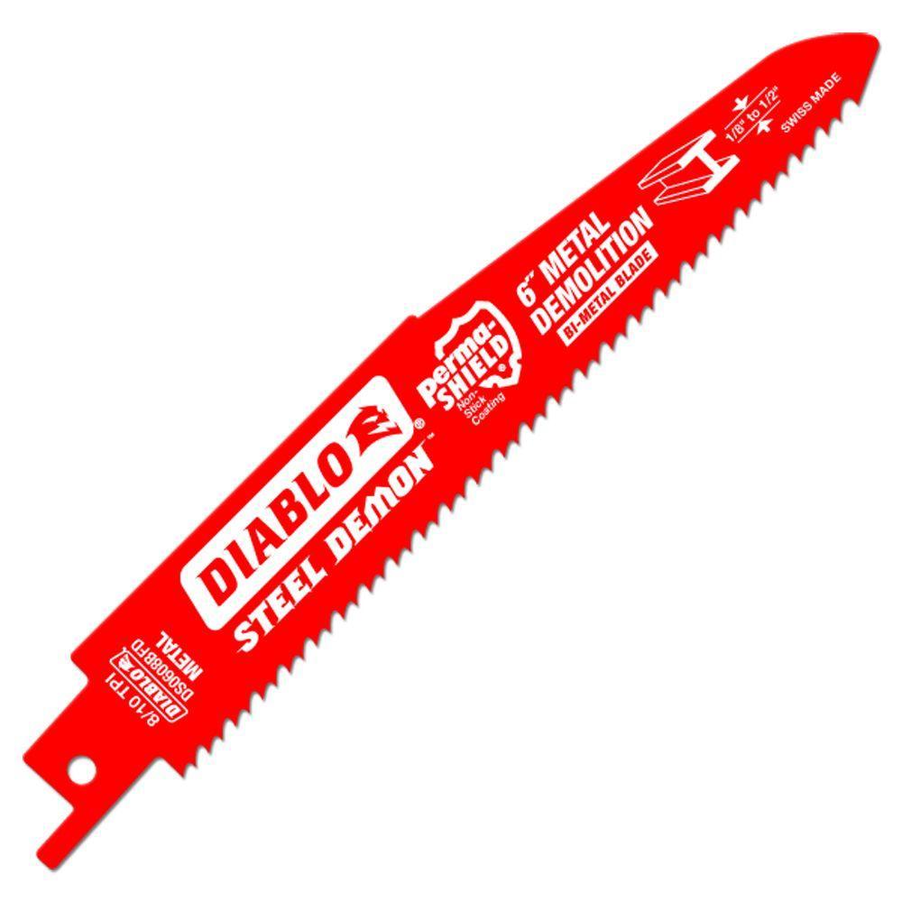 6 in. 8/10 Teeth per in. Steel Demon Metal Demolition Reciprocating Saw Blade (5-Pack)