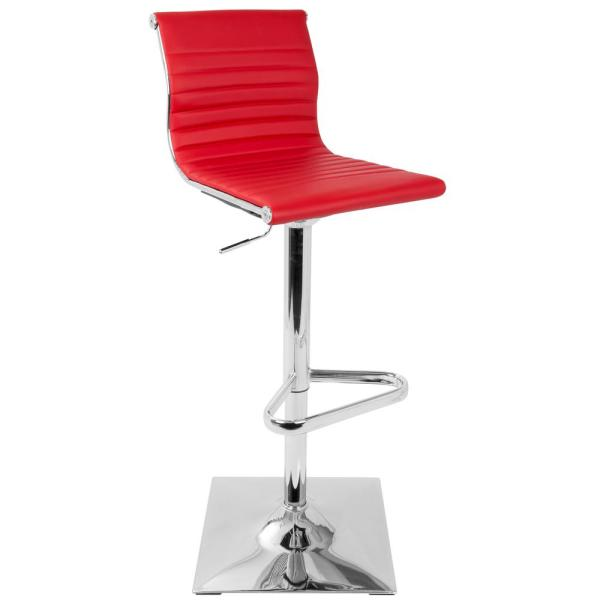 Lumisource Masters Adjustable Height Bar Stool in Red Faux Leather BS-MASTER