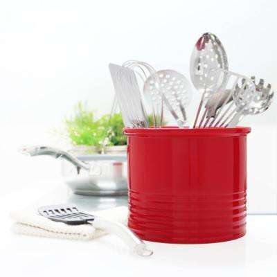 True Red Large Ceramic Utensil Crock