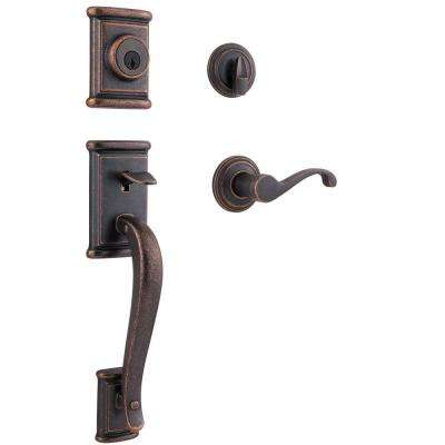 Ashfield Rustic Bronze Single Cylinder Handleset with Commonwealth Lever featuring SmartKey