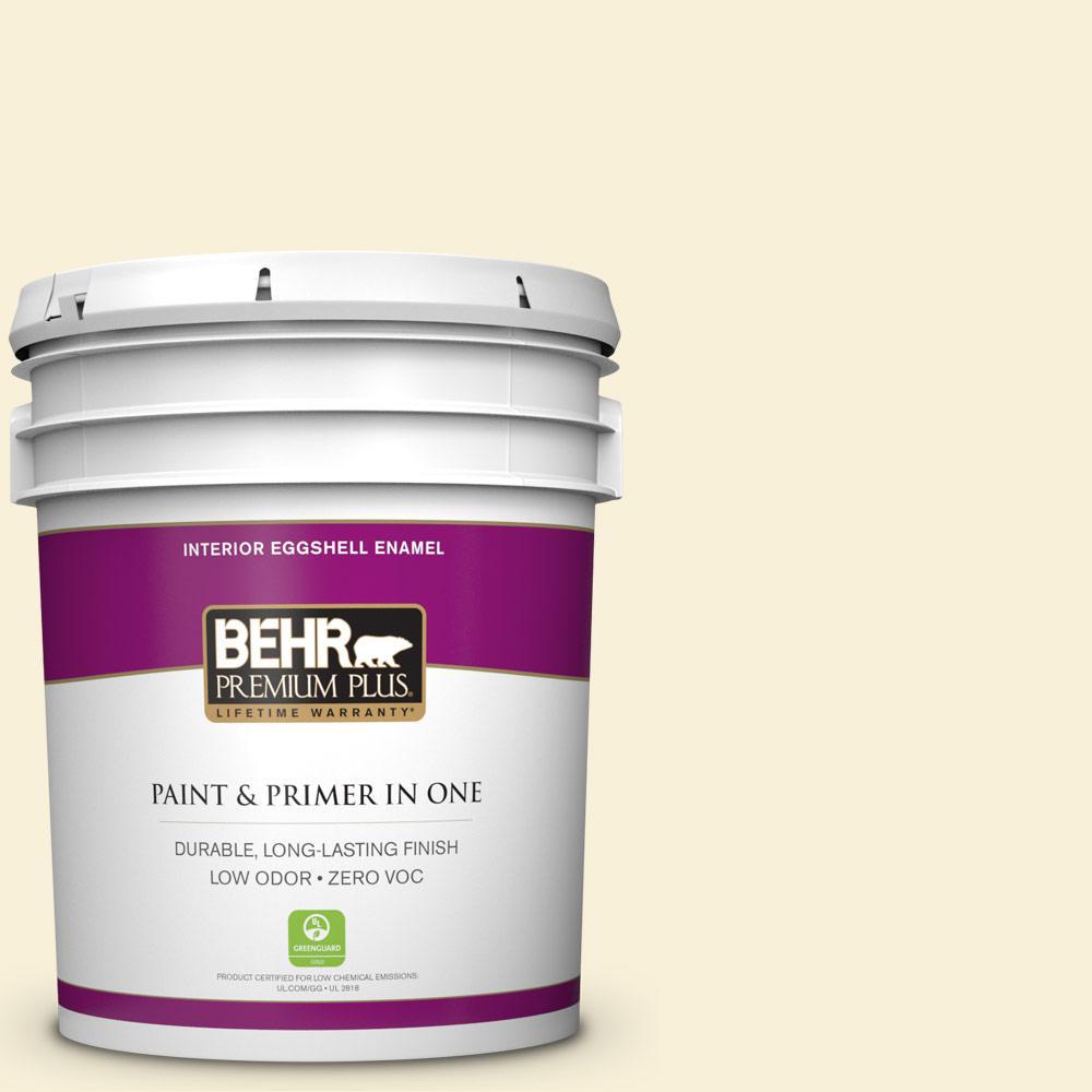 BEHR Premium Plus 5-gal. #320A-1 Eggnog Zero VOC Eggshell Enamel Interior Paint