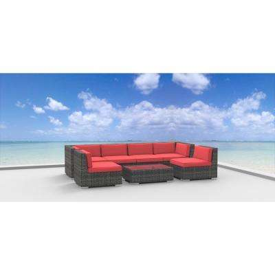 Oahu 7-Piece Wicker Outdoor Sectional Seating Set with Coral Red Cushions