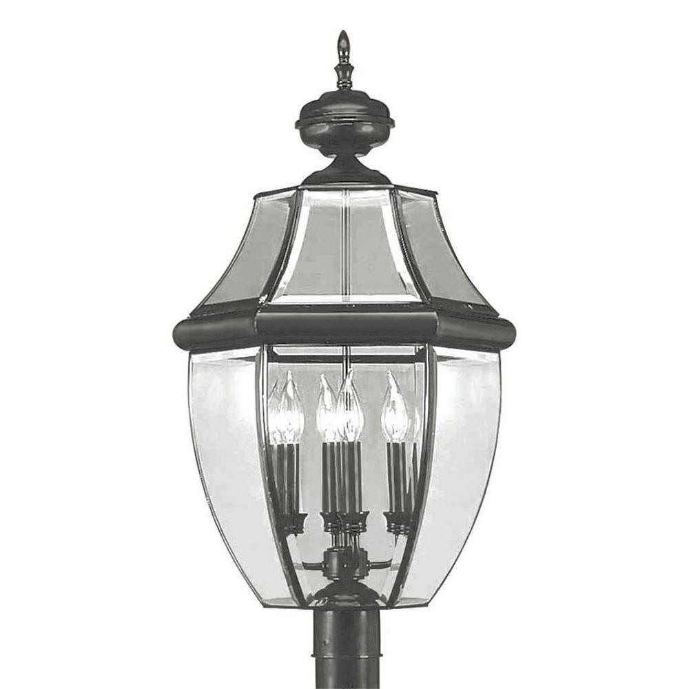 Livex Lighting Providence 4-Light Outdoor Black Incandescent Post Lantern