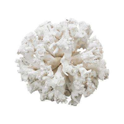 Whitefield 18 in. Wooden Gnarly Sphere Decorative Sculpture in White