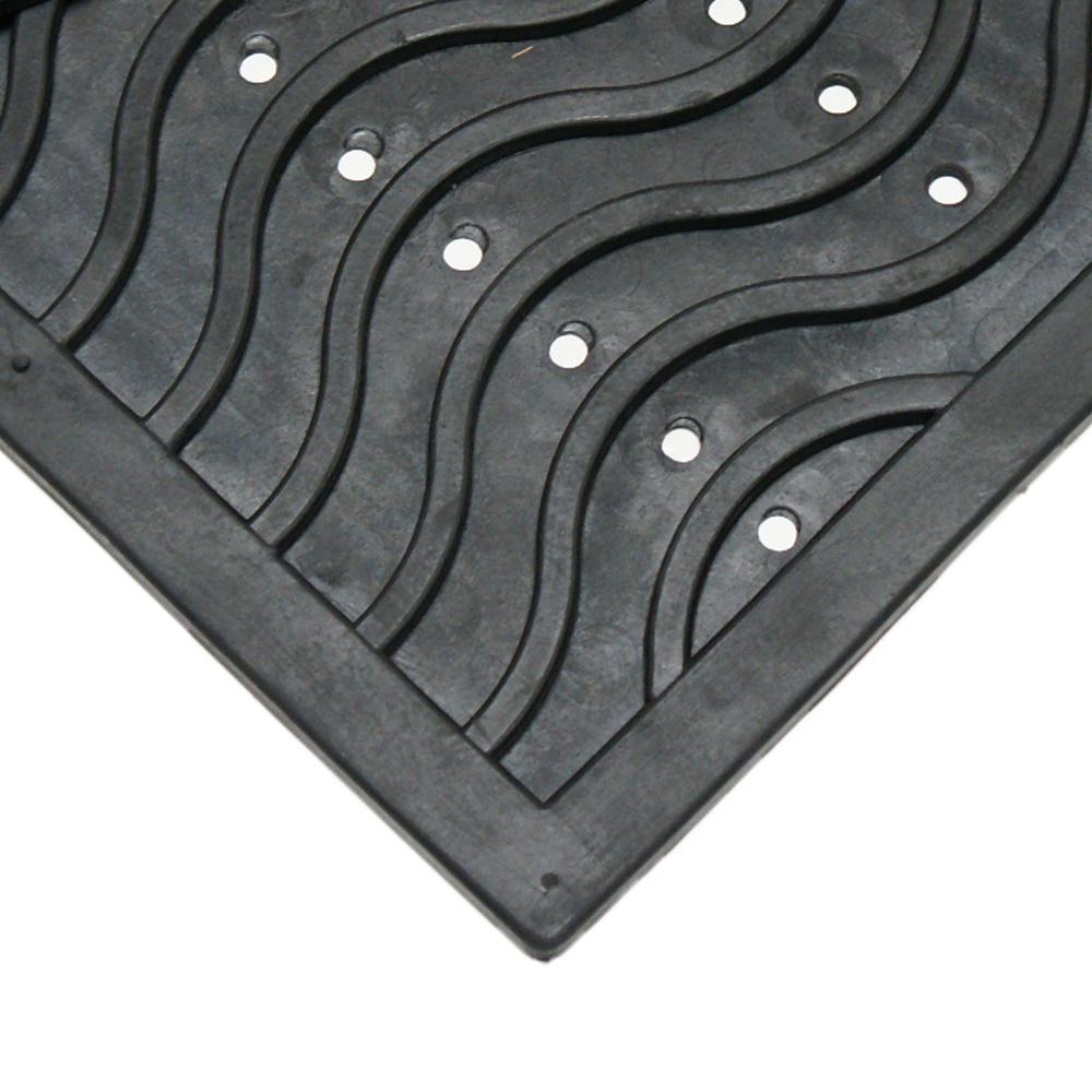 Dura-Scraper Wave 24 in. x 36 in. Black Rubber Door Mat