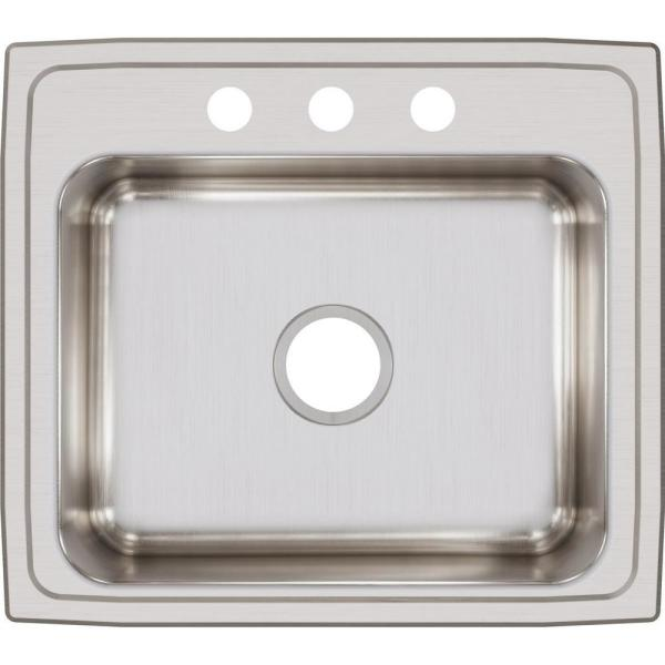 Elkay Lustertone Drop In Stainless Steel 22 In 3 Hole Single Bowl Kitchen Sink Lr22193 The Home Depot