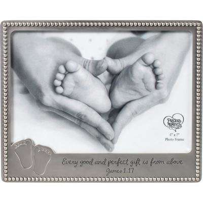5 in. x 7 in. Baby Footprints Silver Zinc Alloy Picture Frame