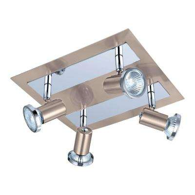 Rottelo 4-Light Matte Nickel and Chrome Ceiling Flushmount