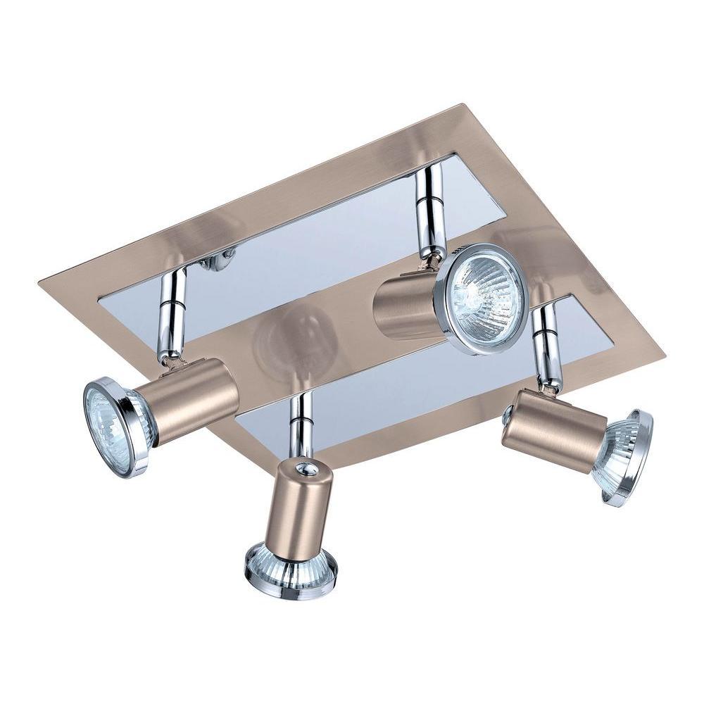 Rottelo 4-Light Matte Nickel and Chrome Ceiling Flushmount