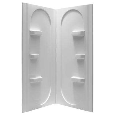 Studio 38 in. x 38 in. x 75 in. 2-piece Direct-to-Stud Corner Shower Surround in White