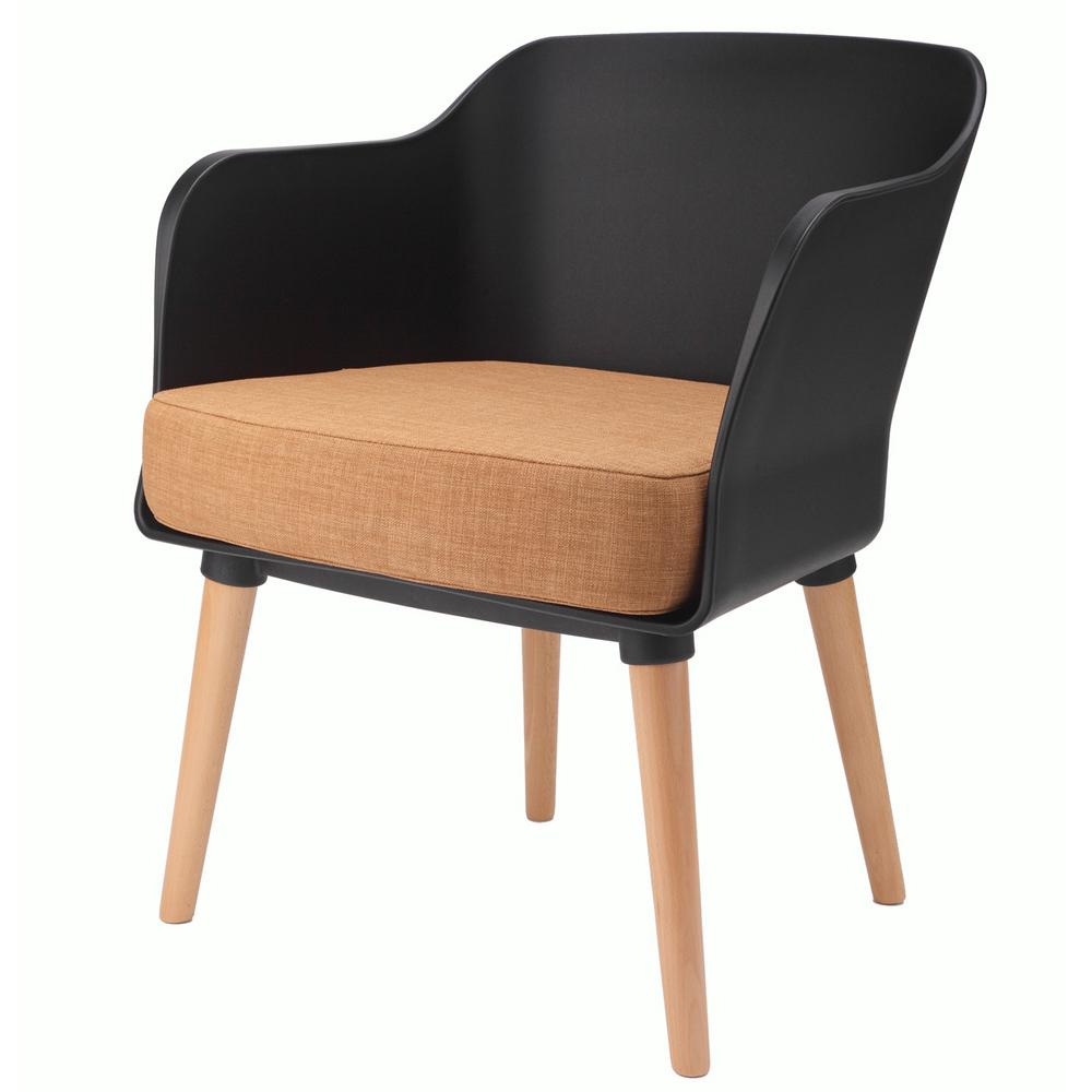 Cali Series Black Modern Accent Living Room Arm Chair with Beech