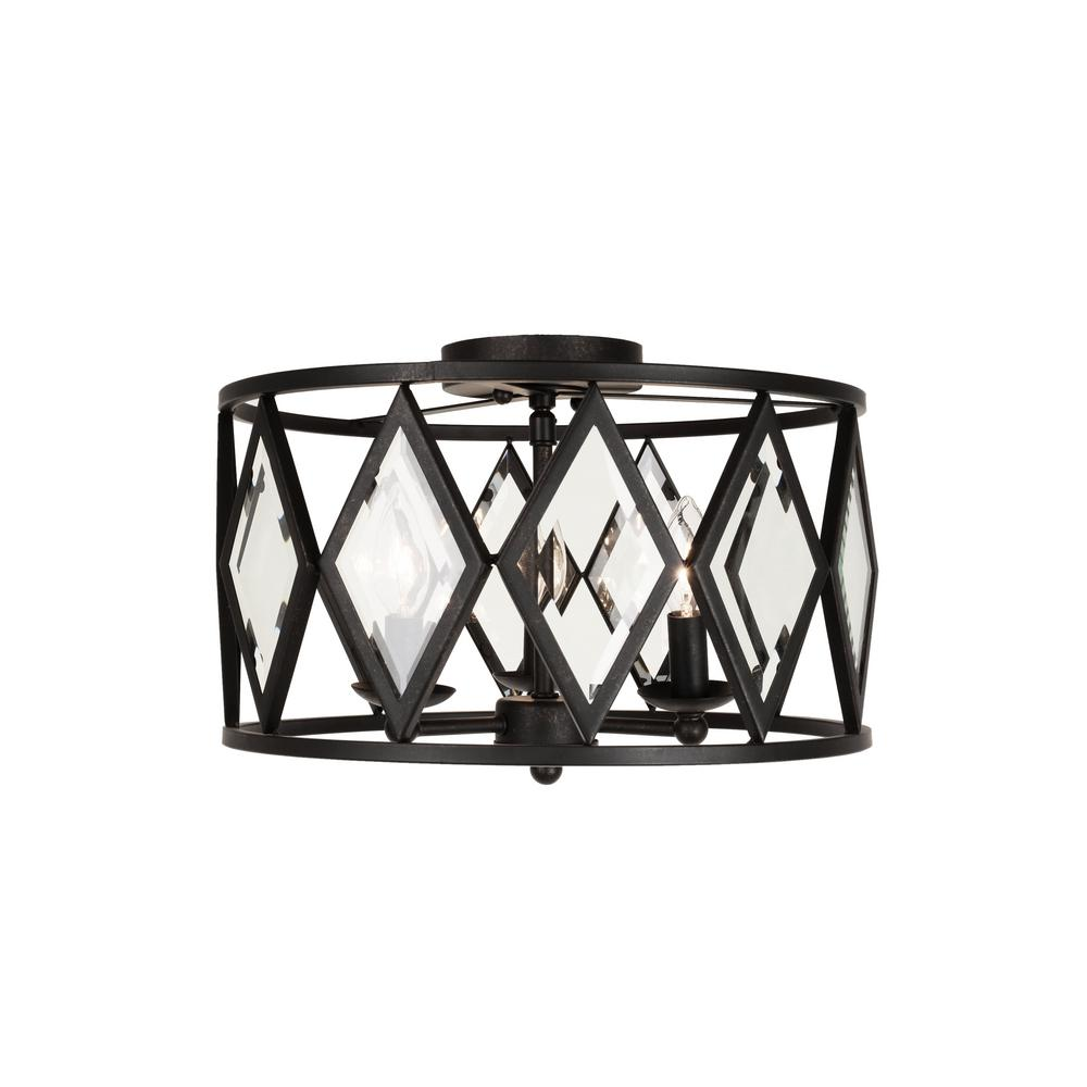 Tessali 16 in. 3-Light Bronze Prismatic Glass Flush Mount Ceiling Light