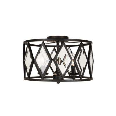 16 in. 3-Light Bronze Prismatic Glass Flushmount