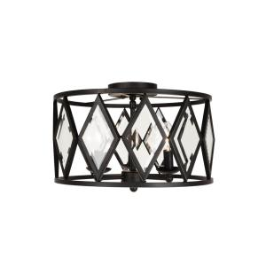 Home Decorators Collection 16 In 3 Light Bronze Prismatic Glass Flushmount 20364 001 The Home