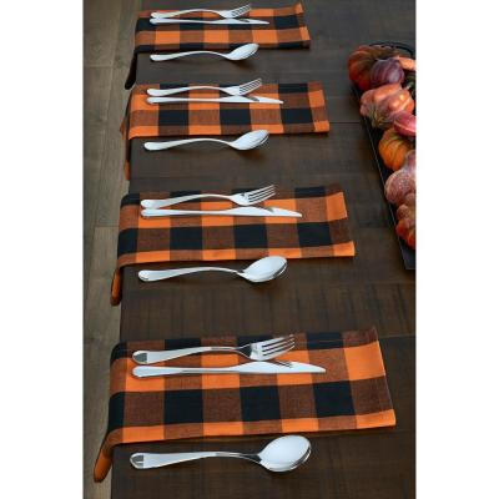 Farmhouse Living Fall Buffalo Check 20 in. W x 20 in. L Black/Orange Napkins (Set of 4)