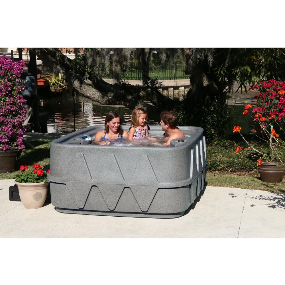 AquaRest Spas Select 400 4-Person Plug and Play Hot Tub with 20 Stainless Jets and LED Waterfall in Graystone