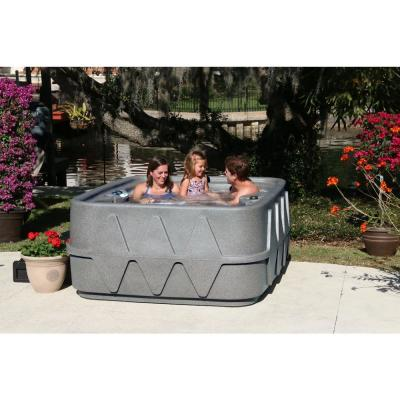 Select 400 4-Person Plug and Play Hot Tub with 20 Stainless Jets and LED Waterfall in Graystone