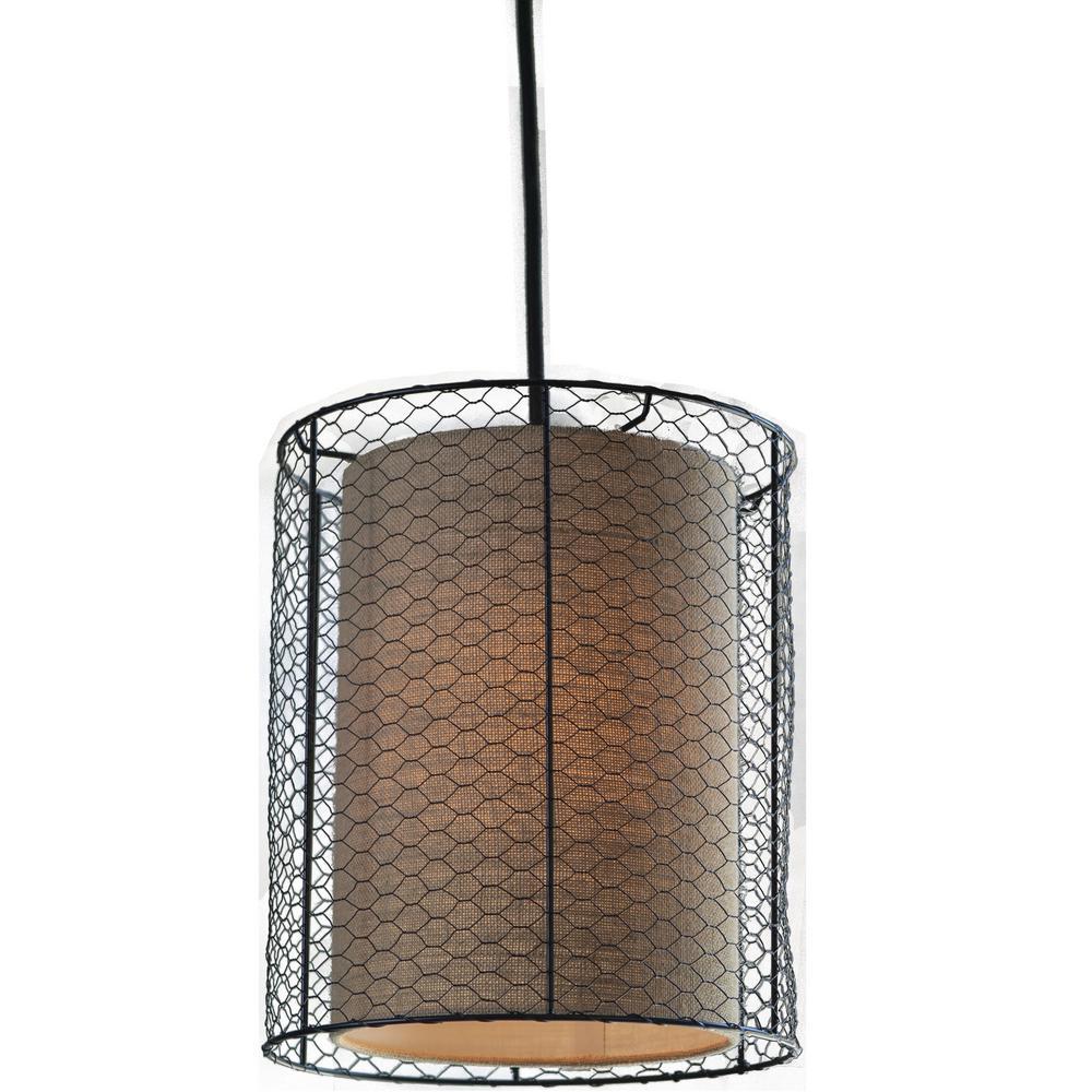 Decor Therapy Cooper Chicken Wire Burlap 1-Light Bronze Pendant ...