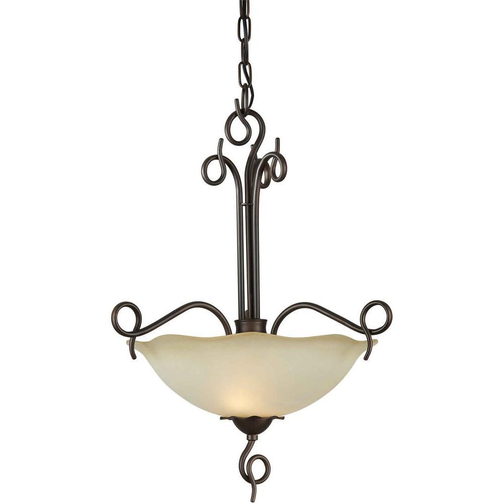 Burton 2-Light Antique Bronze Incandescent Ceiling Pendant