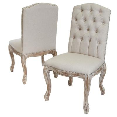 Wembley Beige Fabric and Weathered Hardwood Dining Chairs (Set of 2)
