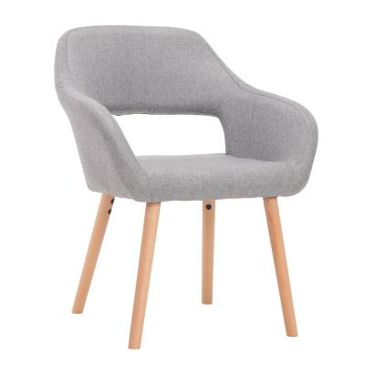 Light Gray Accent Armchair with Solid Wood Legs