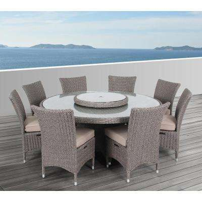 Habra II 9-Piece Aluminum Round Outdoor Dining Set with Sunbrella Cushions