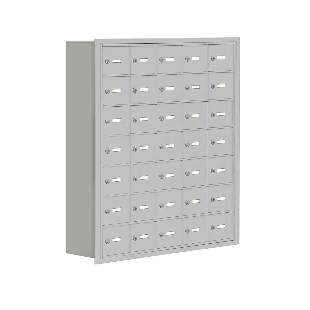 19000 Series 37 in. W x 42 in. H x 8.75 in. D 35 A Doors R-Mounted Keyed Locks Cell Phone Locker in Aluminum