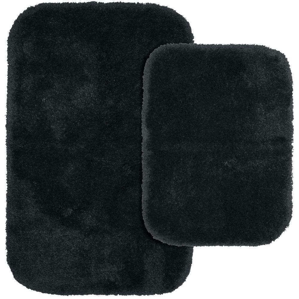 Finest Luxury Dark Gray 21 in. x 34 in. Washable Bathroom 2-Piece Rug Set