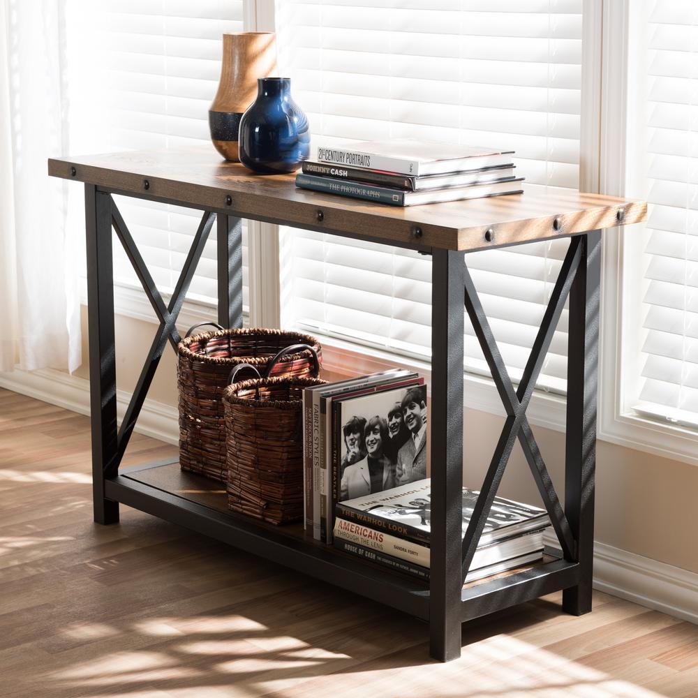 Herzen Vintage Industrial Medium Brown Wood Console Table