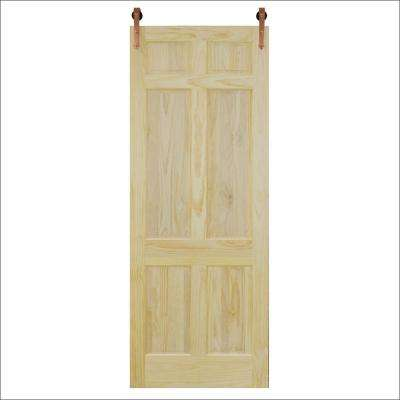 36 in. x 96 in. 6-Panel Unfinished Pine Barn Door with Copper Sliding Door Hardware Kit