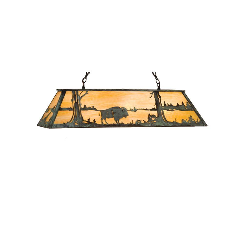 Illumine 9 Light Buffalo at Lake Oblong Pendant Antique Copper Verdi Finish