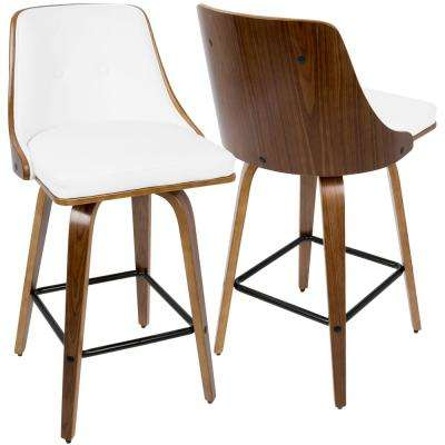 Gianna 26 in. Walnut Wood and White Faux Leather Counter Stool