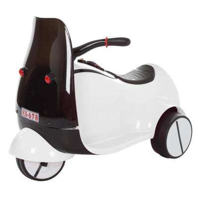3-Wheel Battery Powered Ride on Toy Motorcycle Euro Trike in White