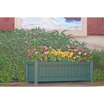 Nantucket 34 in. x 12 in. Green Recycled Plastic Commercial Grade Planter Box