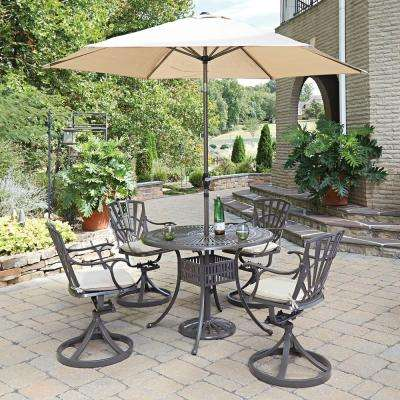 Largo 5-Piece Patio Dining Set with Umbrella and Cushions