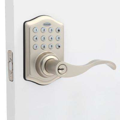 Satin Nickel Keypad Electronic Door Lever Entry Lock with Alarm