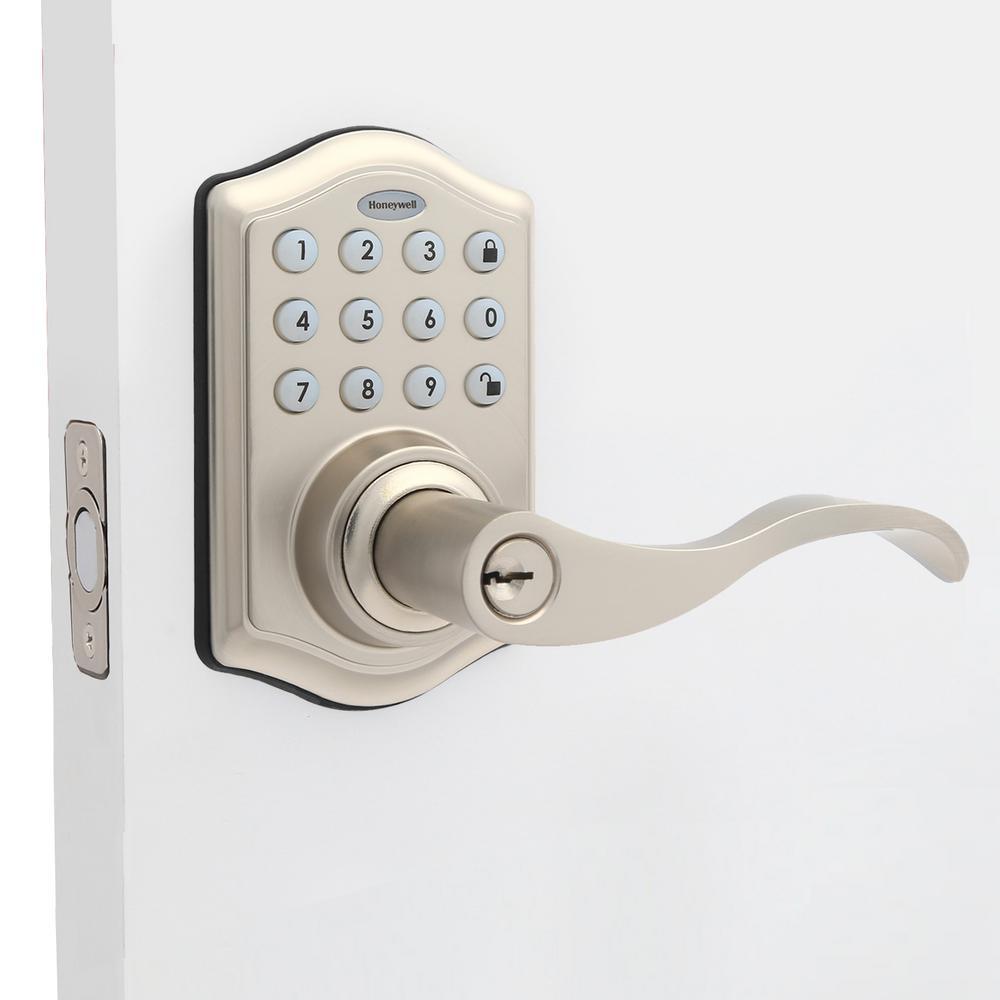 Satin Nickel Keypad Electronic Door Lever Entry Lock