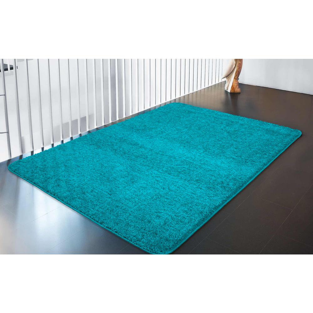 Ottomanson Luxury Shaggy Collection Shag Solid Design Blue 5 Ft X 7