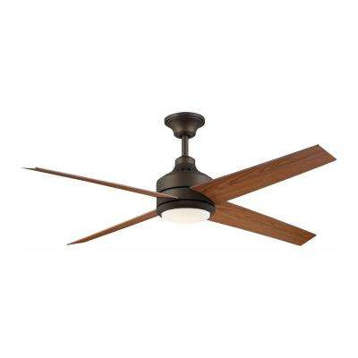 Mercer 56 in. Integrated LED Indoor Oil Rubbed Bronze Ceiling Fan with Light Kit and Remote Control