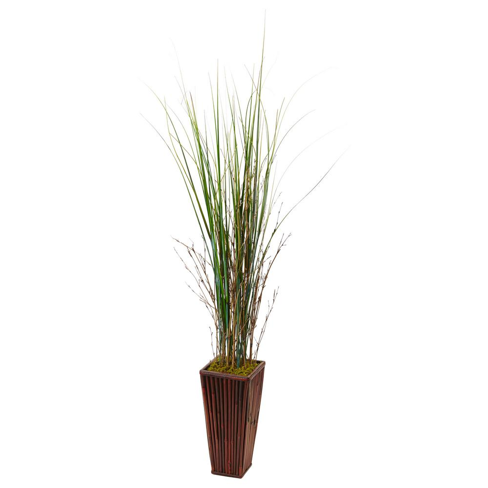 Nearly Natural Indoor Bamboo Artificial Grass In Bamboo Planter