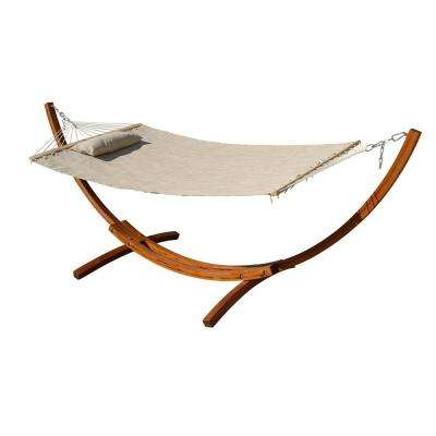 10-1/2 ft. Woven Mesh Arc Hammock with Stand in Beige