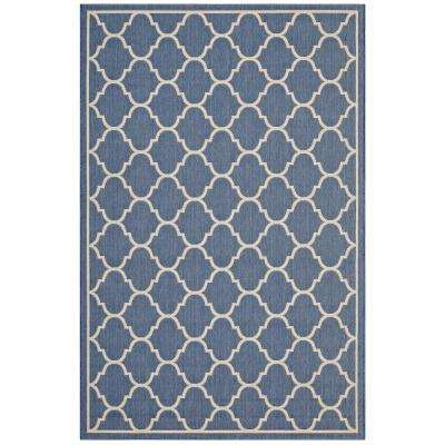 Avena Moroccan Quatrefoil Trellis 8 ft. x 10 ft. Indoor and Outdoor Area Rug in Blue and Beige