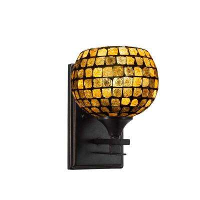 6.75 in. Dark Granite Sconce with 6 in. Copper Mosaic Glass