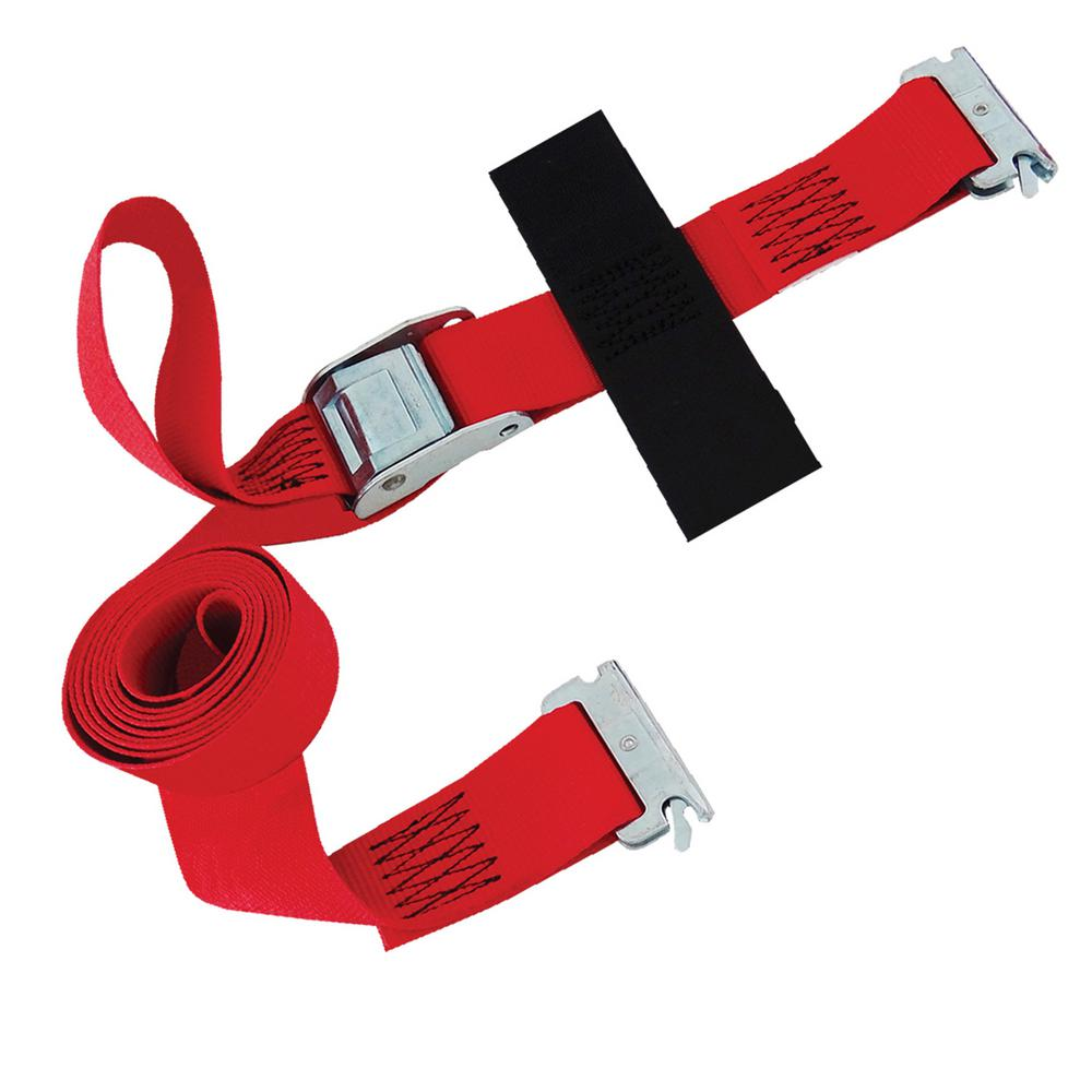 SNAP-LOC 12 ft. x 2 in. Cam Buckle E-Strap with Hook and Loop Storage Fastener in Red