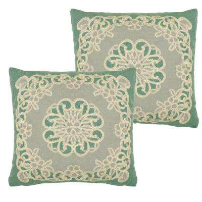 Emily Teal Polyester Slip Covers (Set of 2)